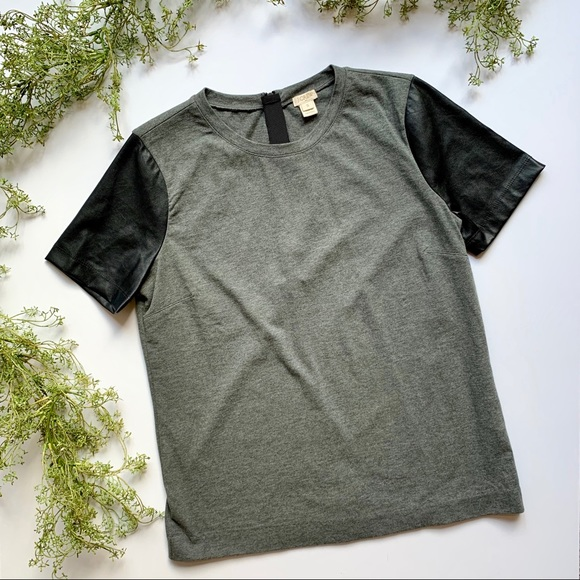 J. Crew Tops - J Crew | Gray Top with Faux Leather Sleeves
